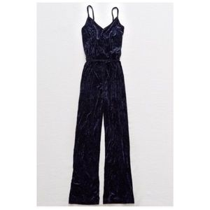 Aerie crushed velvet navy jumpsuit